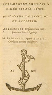 Edition du livre d'Artémidore
